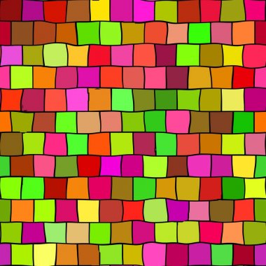 seamless irregular highlight colored mosaic texture pattern background - square pieces in green, orange, grown, red, pink, magenta and yellow colors