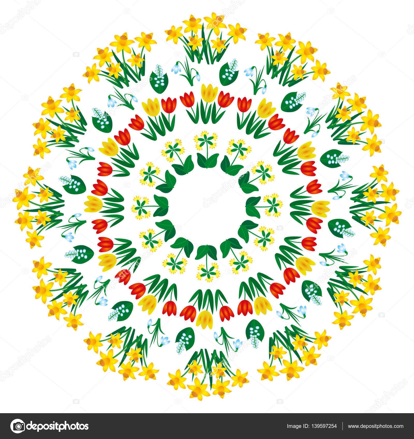 Kleurplaten Mandala Lente.Vector Gekleurde Ronde Lente Bloemen Mandala Volwassen