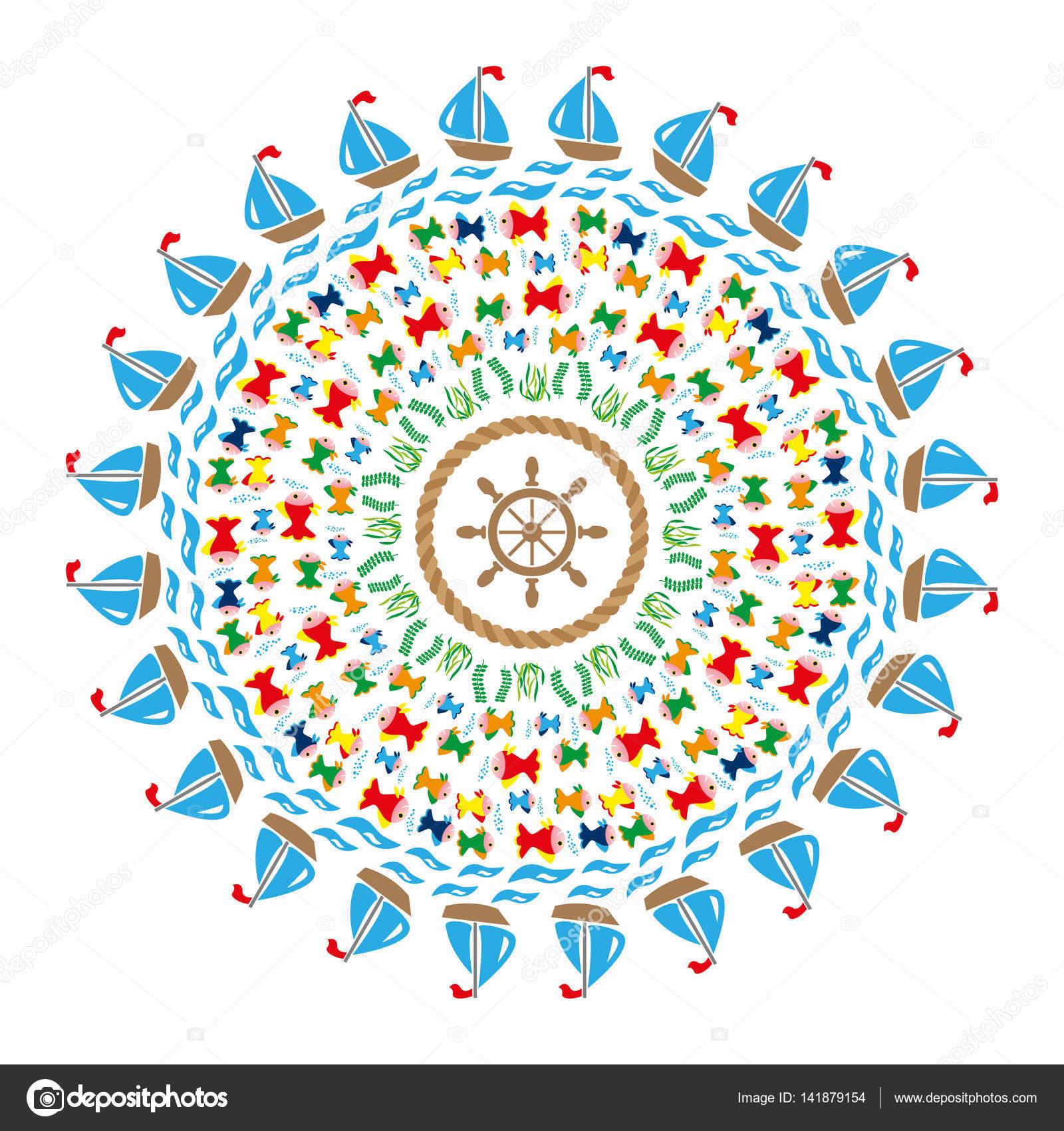 Vektor Farbige Runde Marine Mandala Mit Symbolen Meer Fische