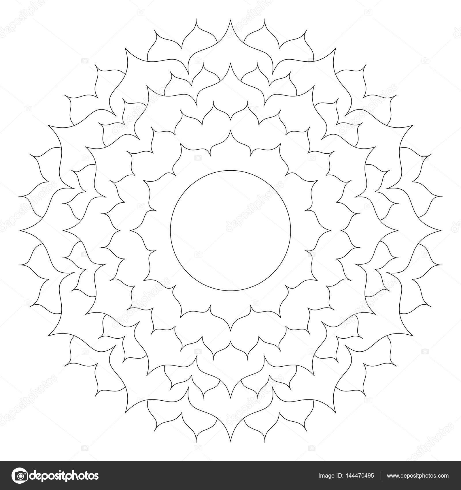 Vector Black And White Round Simple Mandala Lotus Flower Adult