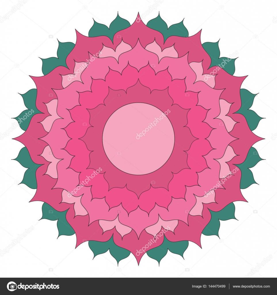 Vector de color redondo simple mandala flor de loto - adulto para ...