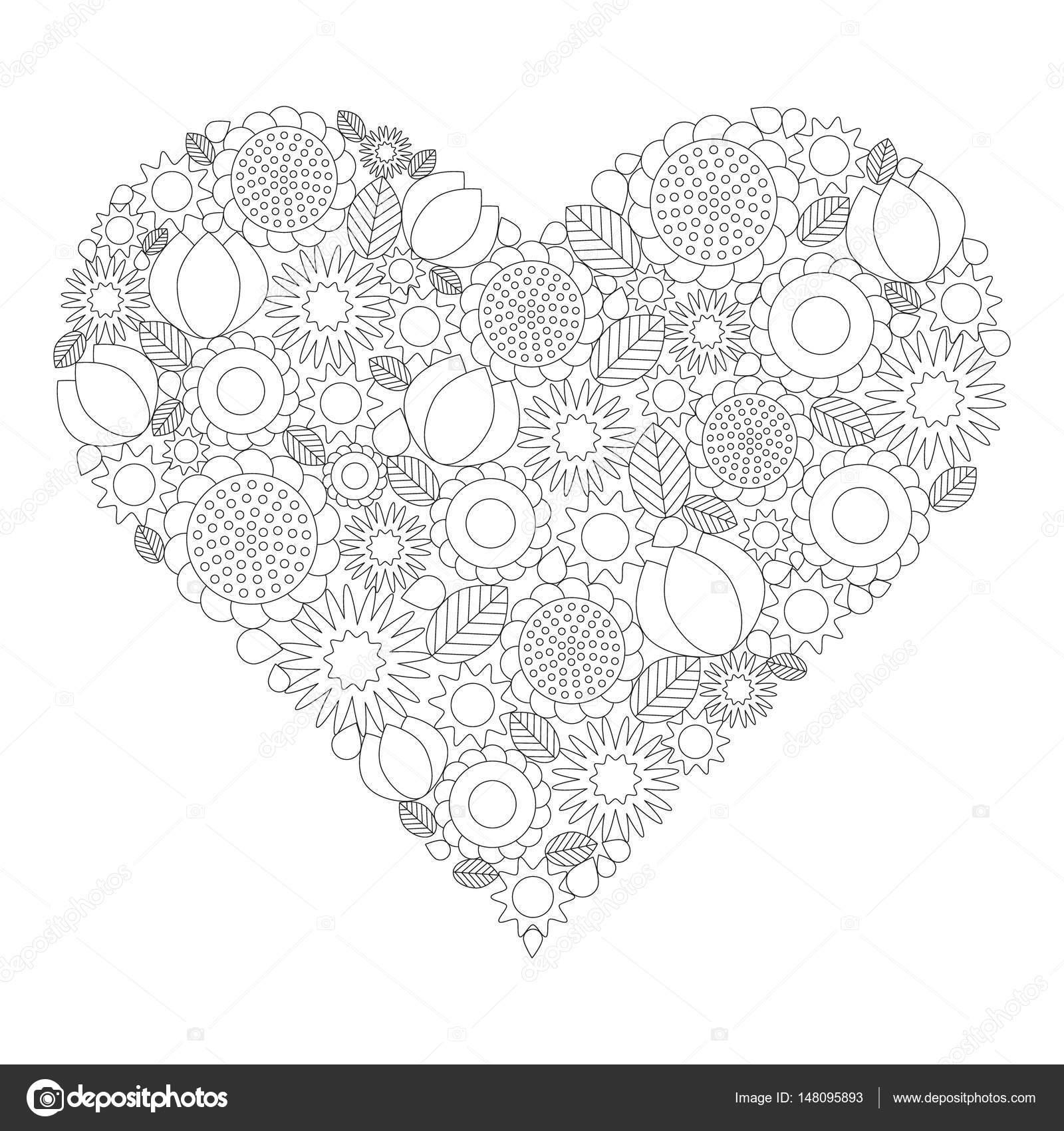 Yetişkin Kitap Sayfa Vektör Siyah Beyaz Kontur Resim çiçek