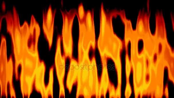 abstraktní animovaný oheň pozadí bezešvé smyčka video - černé, červené, oranžové a žluté barvy