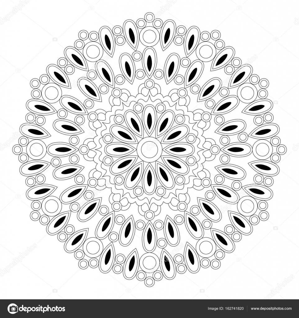Vektor-schwarze und weiße Runde geometrische Mandala mit Tropfen und ...