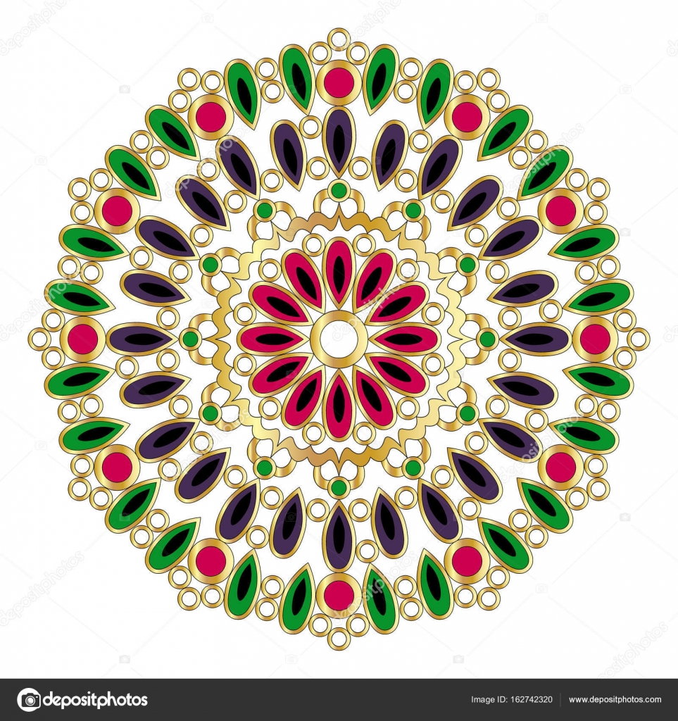 vector gold colored round geometrical mandala with drops and rings ...