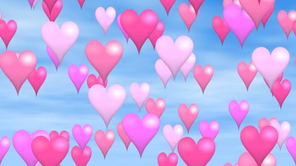 animated background seamless loop video - pink and purple hearts hover on blue sky