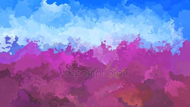 abstraktní, animované obarví pozadí bezešvé smyčka video - levandule fialový a nebesky modré barvy