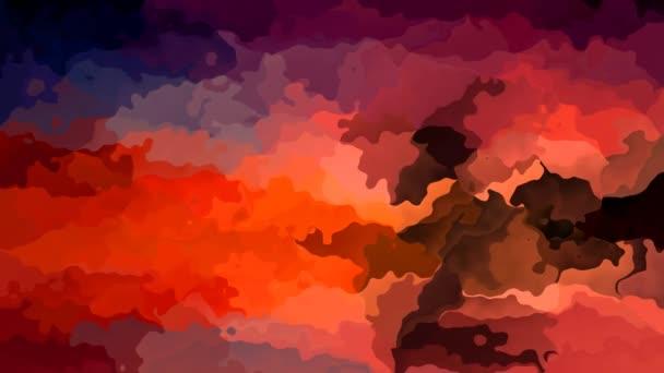 absztrakt animált festett háttér folyamatos hurok video - élénk piros, narancs, lila, barna és kék színek