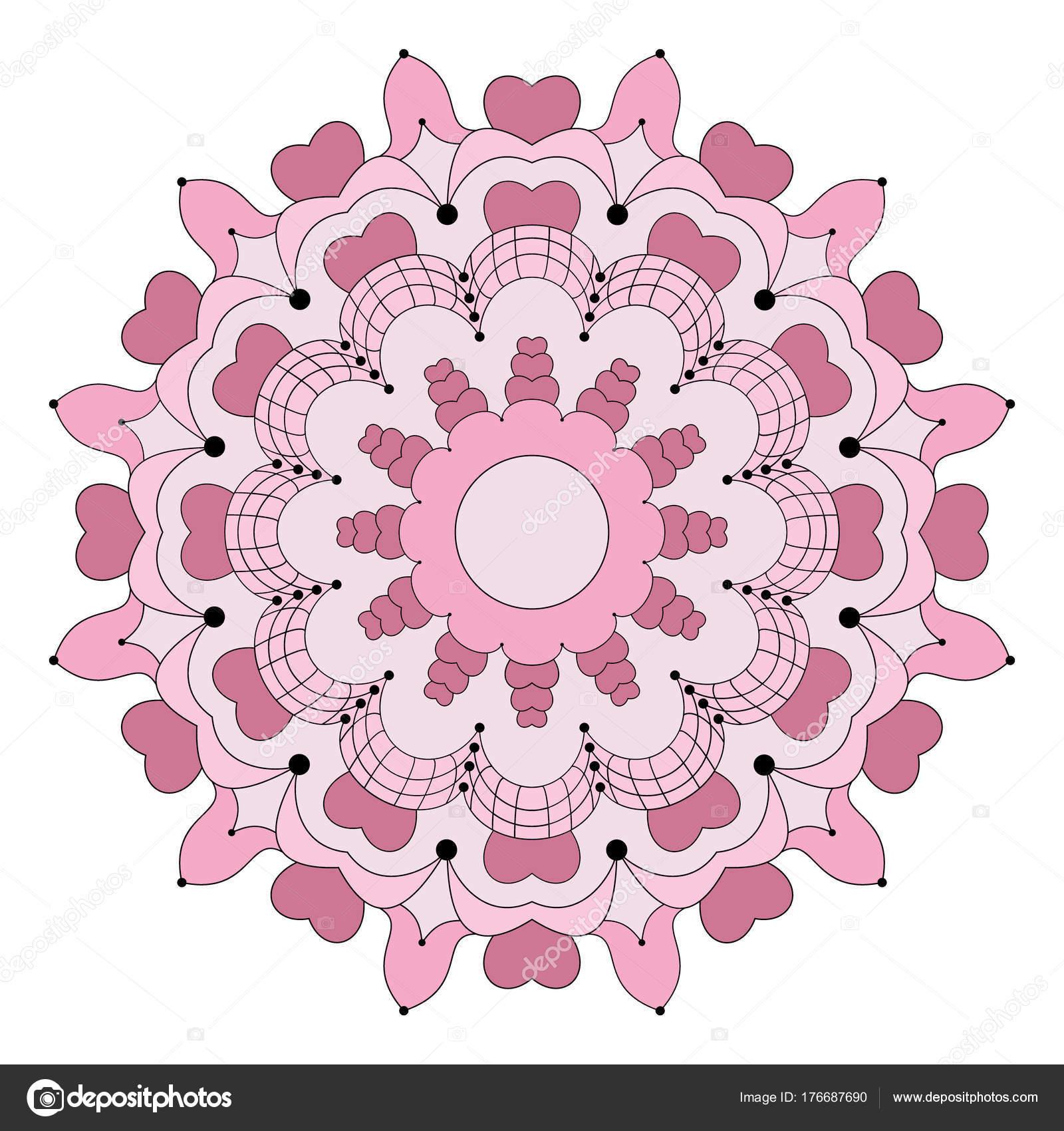 Vektor-farbige Runde Blume Mandala mit Herzen - Erwachsenen Buch ...