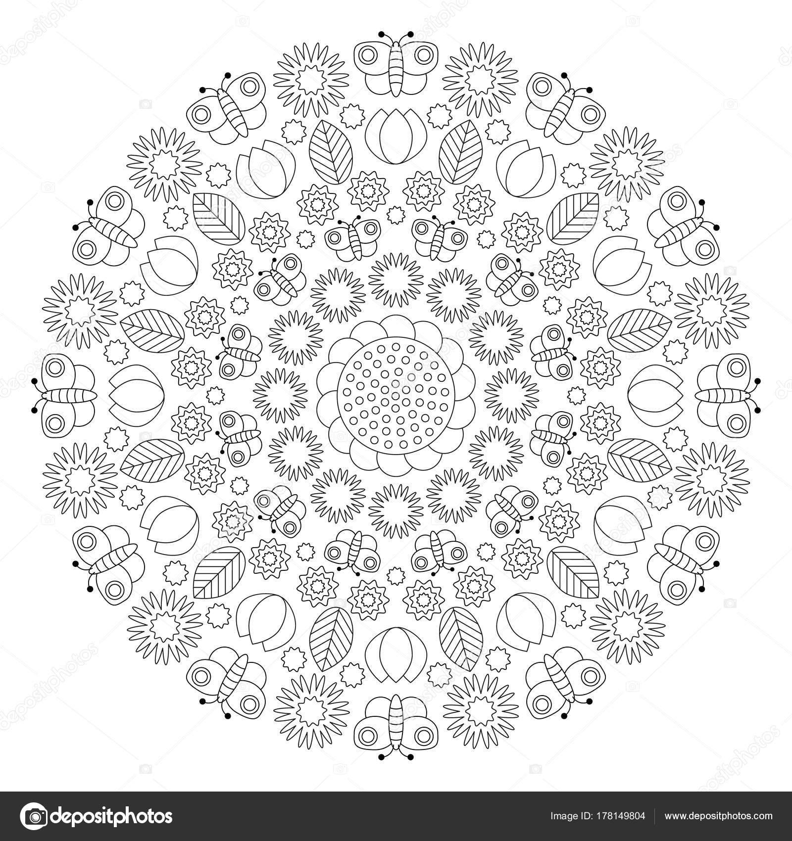 mandala primavera circular blanco y negro con mariposas, flores ...