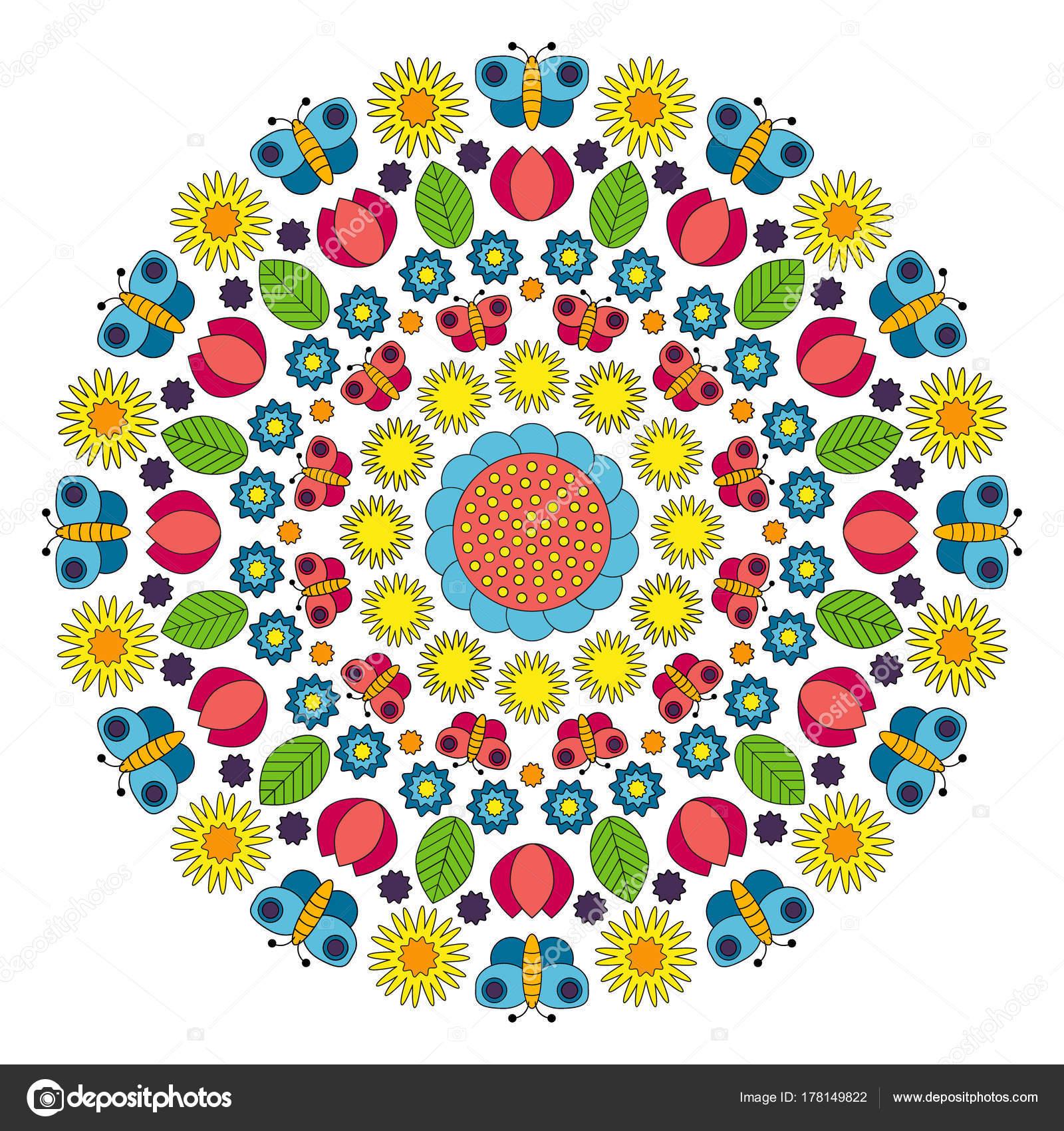 Vector de multi coloreada mandala circular de primavera con flores ...