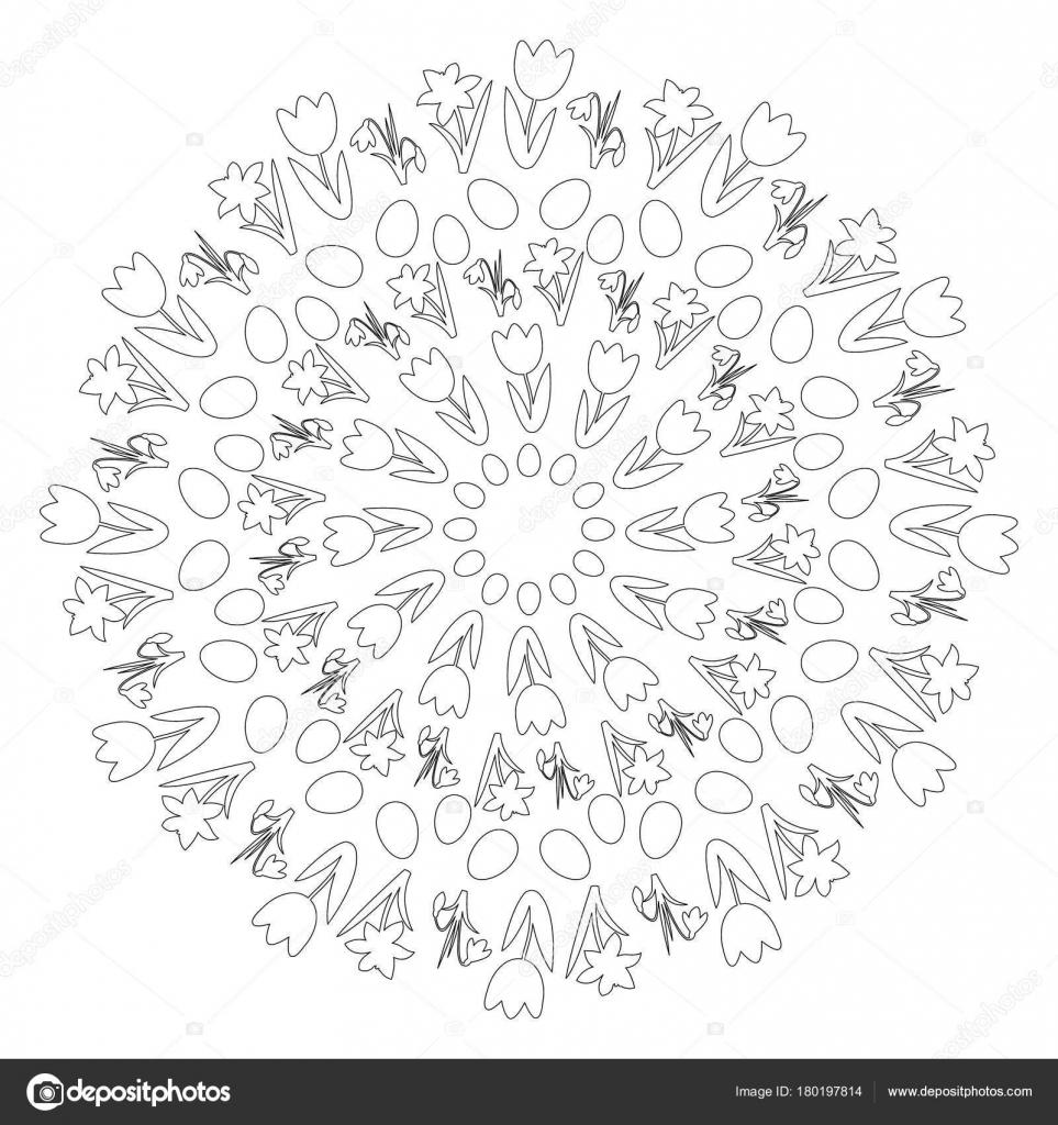 Vektor schwarz-weiß Rundschreiben rund um Ostern Frühling Mandala ...
