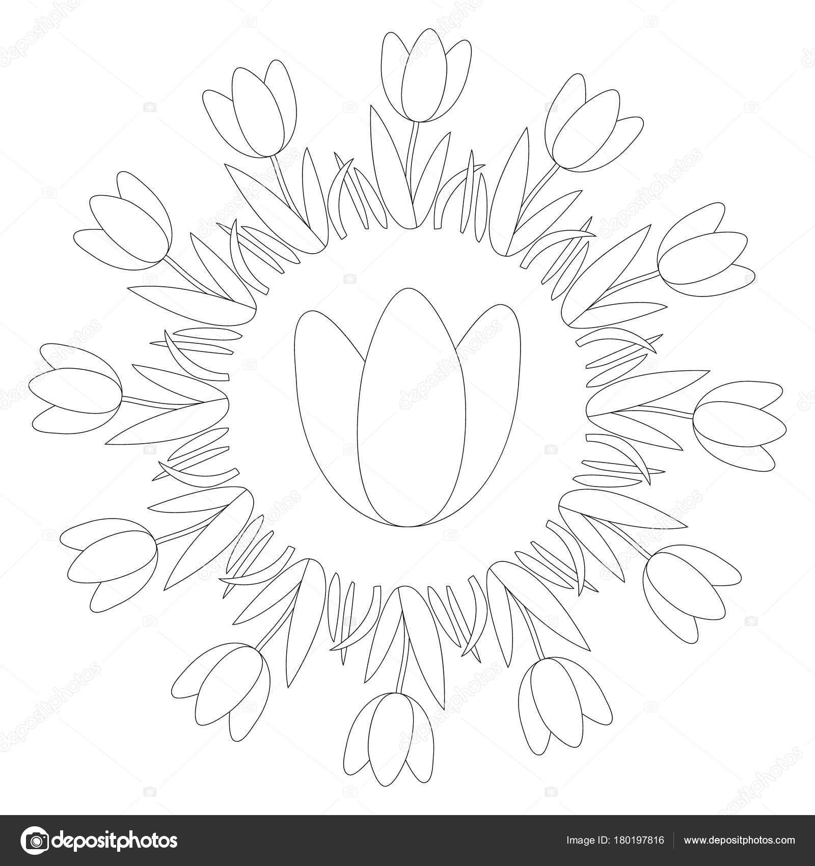 Vektor Schwarze Und Weiße Runde Runde Frühling Mandala Mit Blume