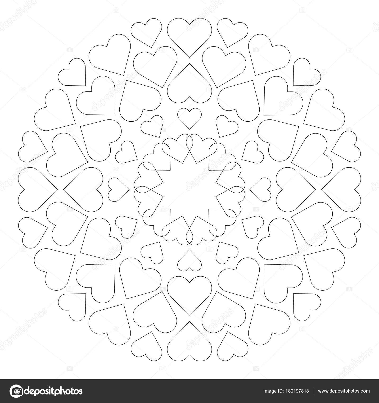 Vektor-farbigen runden Runde liebevolle niedlichen Mandala mit Herz ...