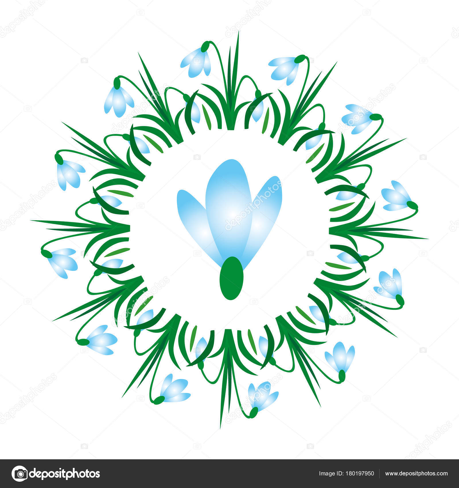 vector colored circular round spring mandala with flower snowdrop ...