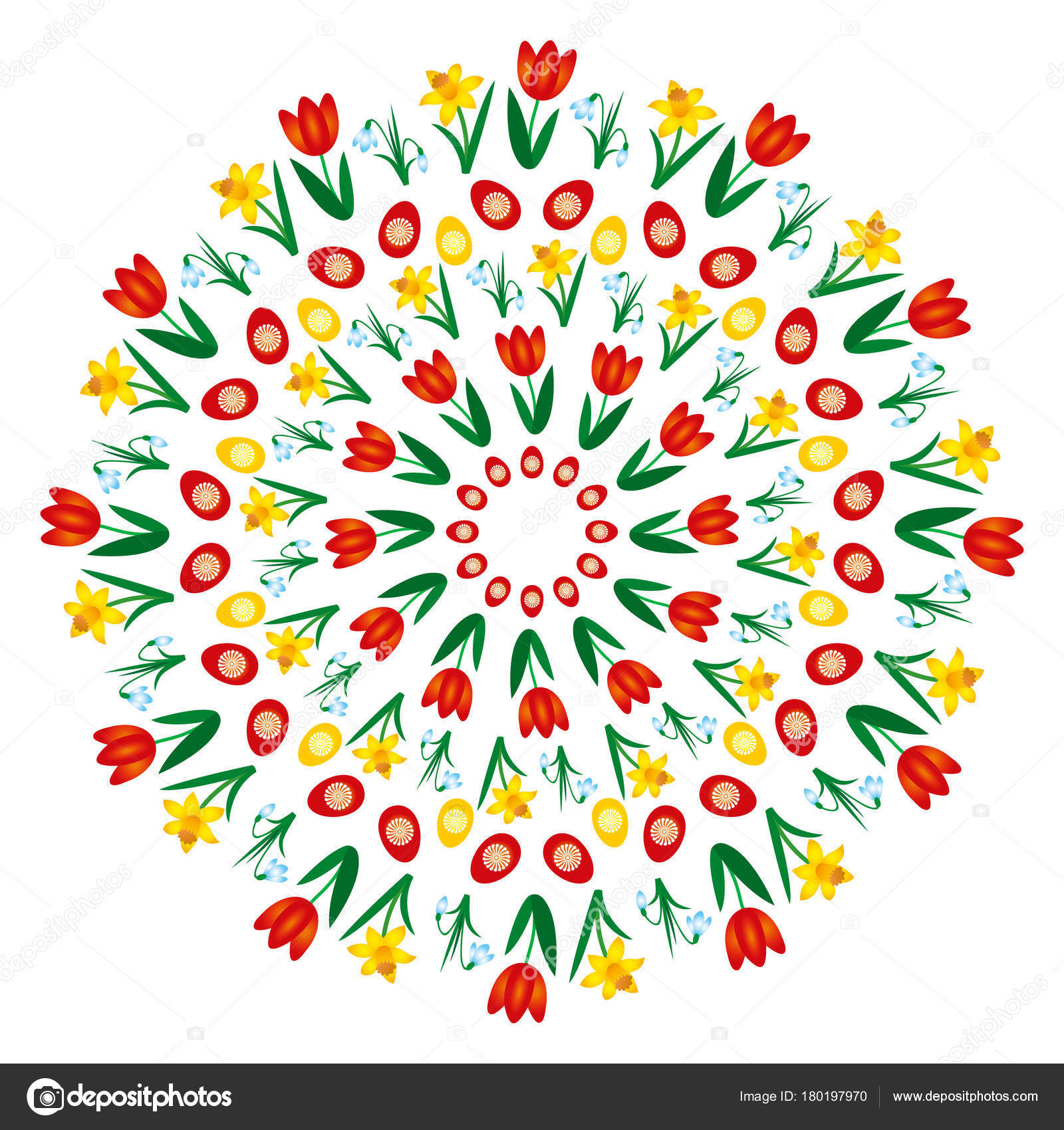 vector colored circular round easter spring mandala with flowers and ...