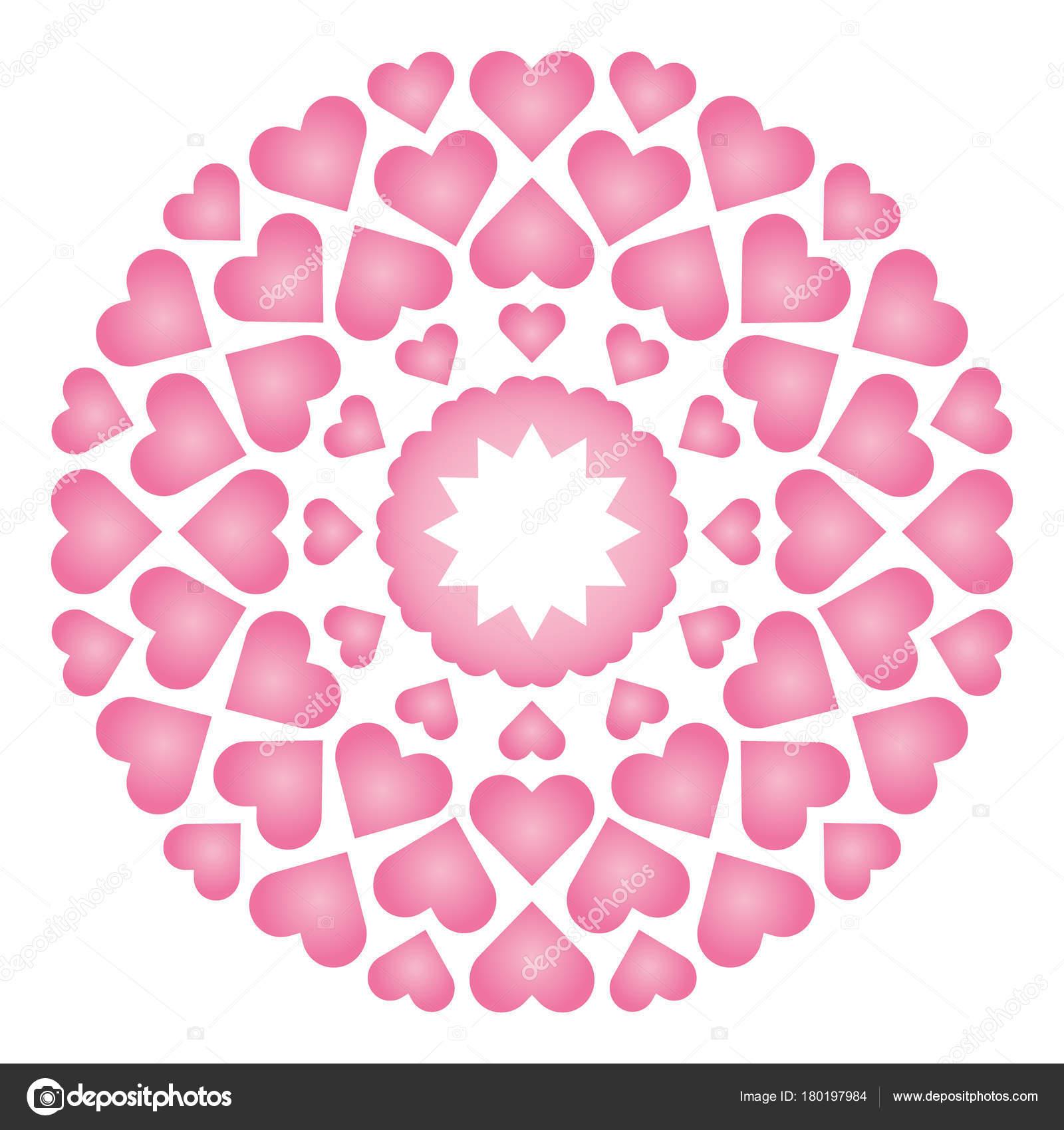 Vektor-farbigen runden Runde liebevolle süße Mandala mit Baby rosa ...
