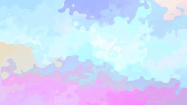 abstraktní animované barevné pozadí bezešvé smyčka video - vytvoří efekt vodových barev - světle holografické pastelové barevné spektrum - baby růžové, roztomilé modré, béžové a fialové barevné