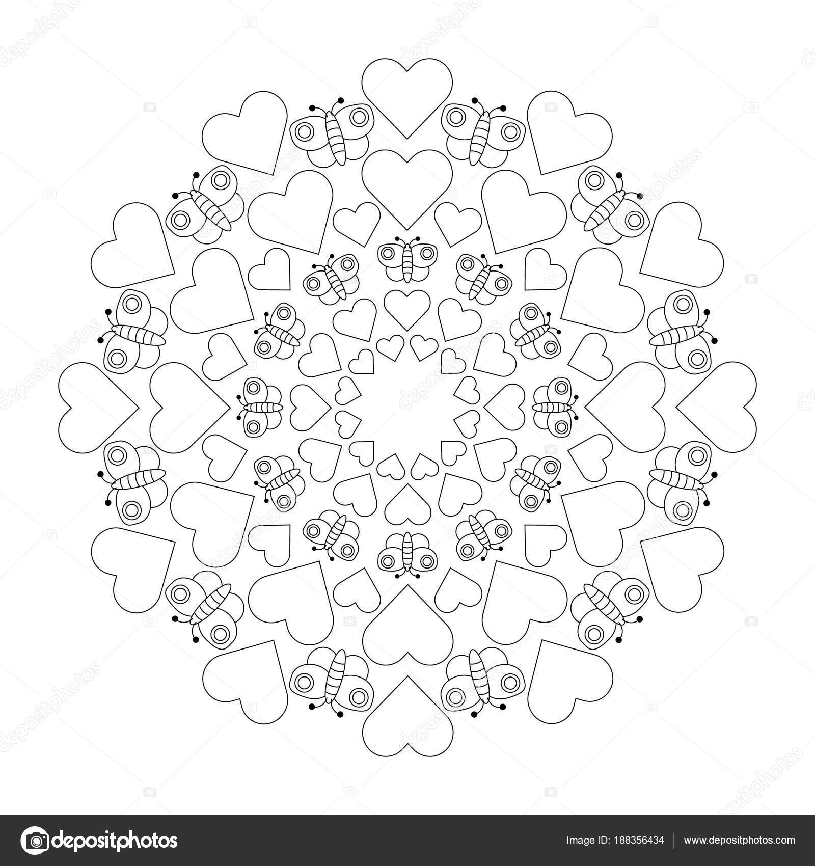 Vektor-schwarz / weiß kreisförmig Runde süße liebevolle Mandala mit ...