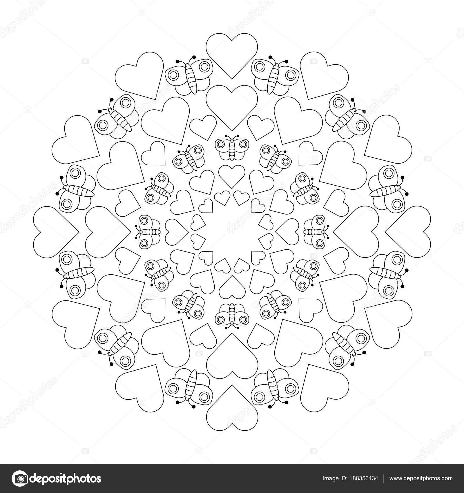 Kleurplaten Bloemen Vlinders Hartjes.Zwart Wit Circulaire Ronde Schattig Liefdevolle Mandala Met Hartjes