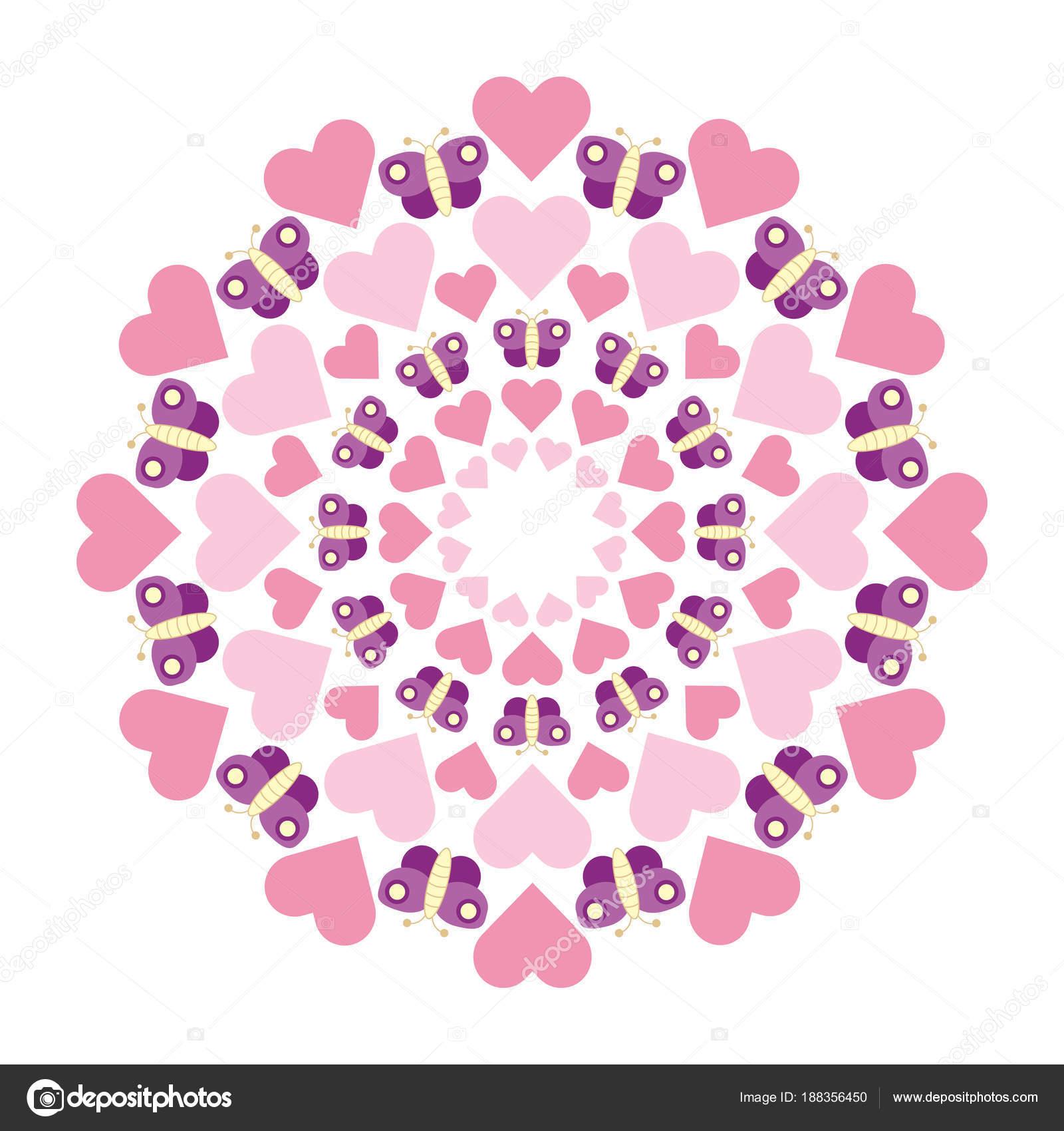 Vektor-kreisförmigen runden süßen pastellfarbenen Mandala mit rosa ...