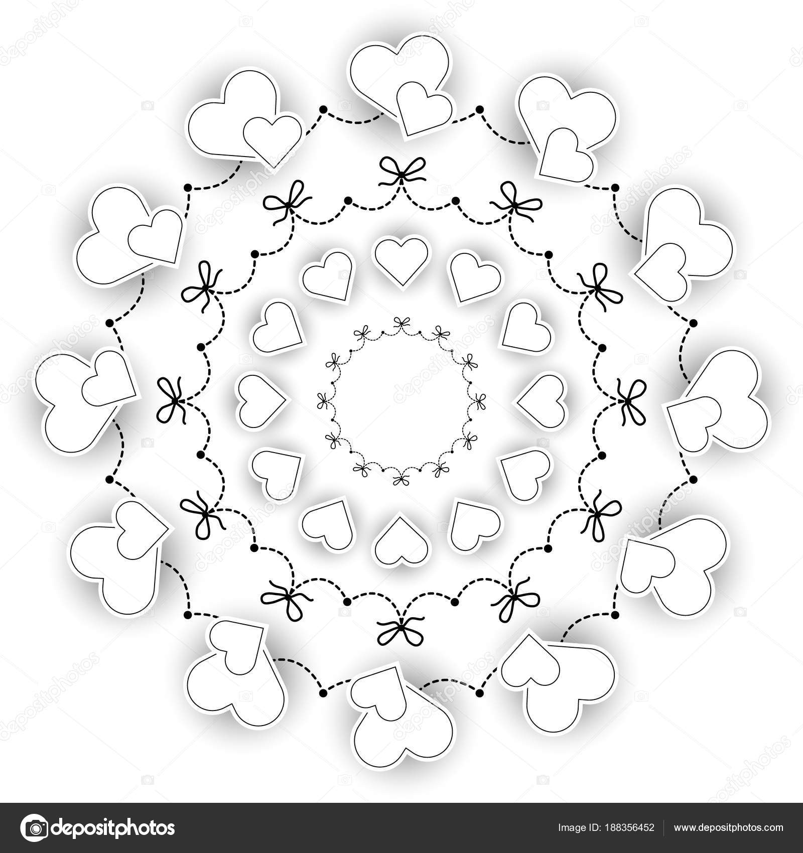 Vector De Mandala Romántica De Boda Redondo Circular Blanco Y Negro