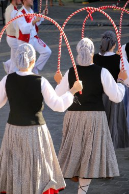 Traditional Basque dance in a street festival