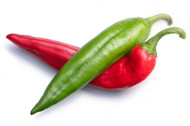 Red or green Numex chiles crossed,top view,paths