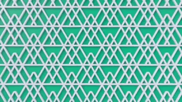 Arabesque hurkolás geometriai mintázat. Zöld és fehér iszlám 3D motívum. Arab orientális animációs háttér. Muszlim mozgó háttérkép.