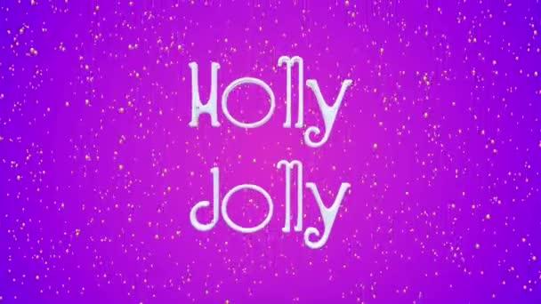 Frohe Weihnachten und ein gutes neues Jahr Bewegung violetten Hintergrund. animierten festlichen weißen Schriftzug. Grußkarte, Banner, Tapete.