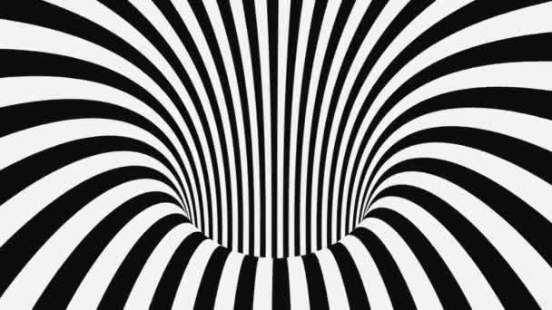 Schwarz-weiße psychedelische optische Täuschung. Abstrakte hypnotische animierte Hintergrund. Spirale geometrische Schleife monochrome Tapete