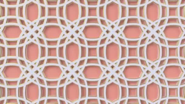 Arab hurok geometriai minta. Rózsaszín és fehér iszlám 3D motívum. Arab keleti animációs háttér.