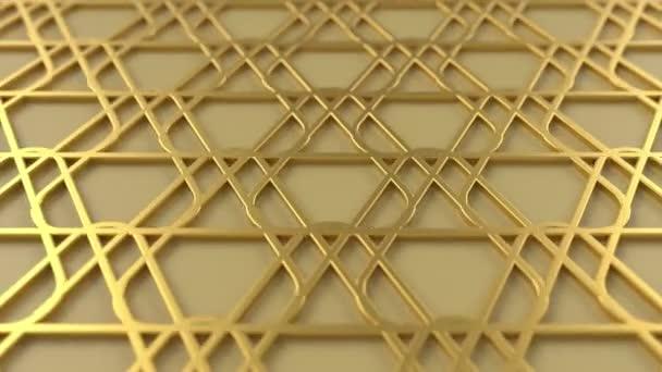 Arab hurok geometriai minta. Arany iszlám 3D motívum. Arab keleti animációs háttér. Muszlim mozgó tapéta.