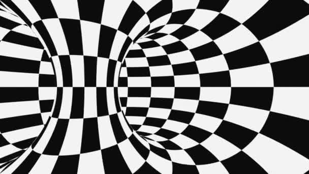 Černá a bílá psychedelická optická iluze. Abstraktní hypnotické pozadí. Vrstvené geometrické opakování tapety