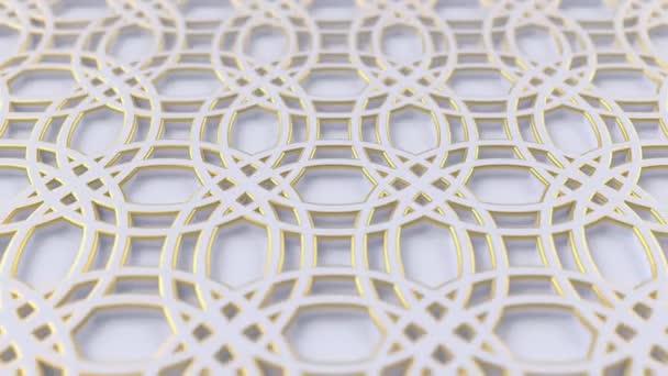 Arabesque hurkolás geometriai mintázat. Arany és fehér iszlám 3D motívum. Arab orientális animált háttér.