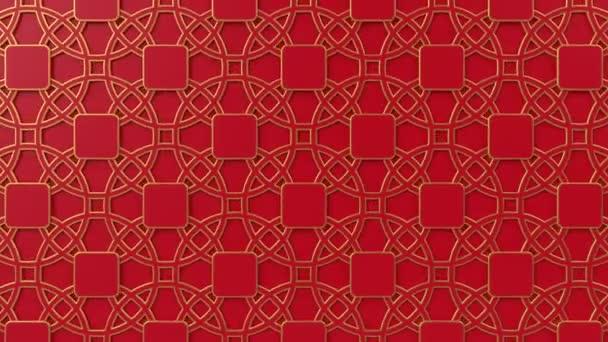 Arab hurok geometriai minta. Arany és piros iszlám 3D motívum. Arab keleti animációs háttér.