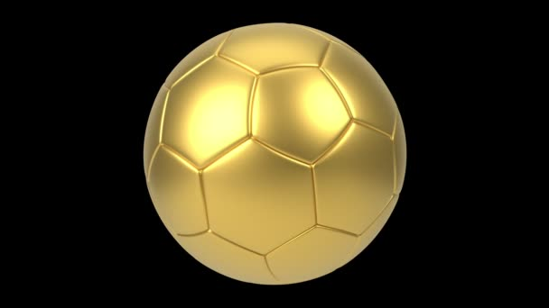 Realistický zlatý fotbalový míč izolovaný na černém pozadí. Animace 3D smyčky.