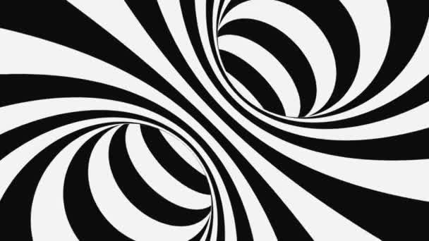 Černá a bílá psychedelická optická iluze. Abstraktní hypnotické pozadí. Spirála geometrická smyčka s monochromatickou tapetou