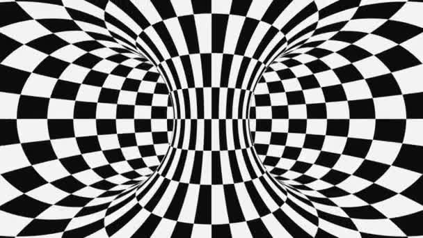 Fekete-fehér pszichedelikus optikai csalódás. Absztrakt hipnotikus háttér. Kockás geometriai hurkolás háttérkép