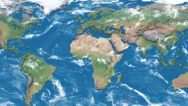 Realistic earth world map. Detailed world atlas animation. Zoom in of the europa.