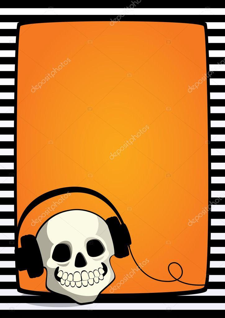 Cráneo de marco de Halloween con auriculares — Archivo Imágenes ...