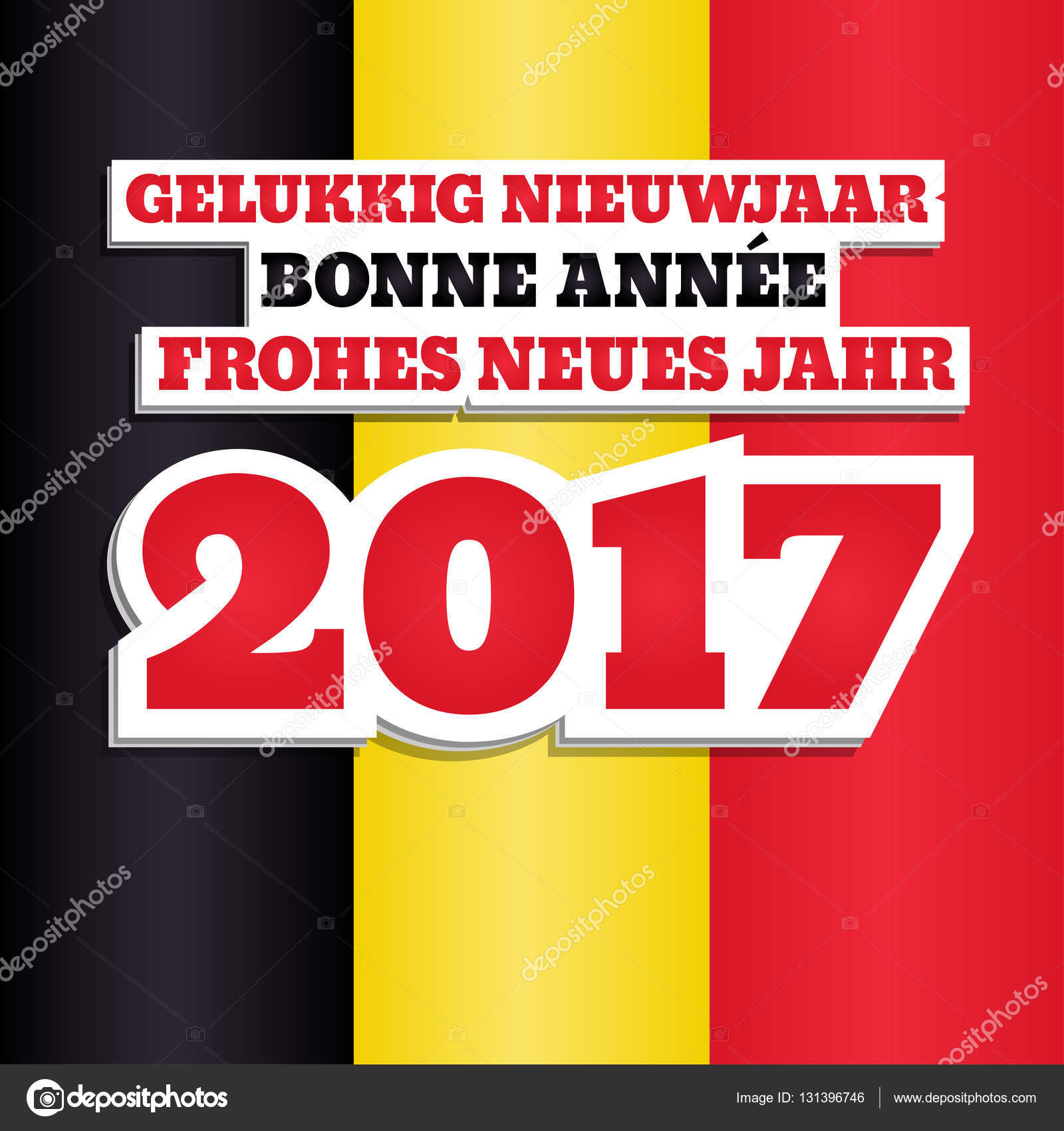 New year 2017 belgium stock vector spoorloos 131396746 vector greeting card with text happy new year 2017 in dutch french and german abstract background with colors of national flag of belgium kristyandbryce Gallery