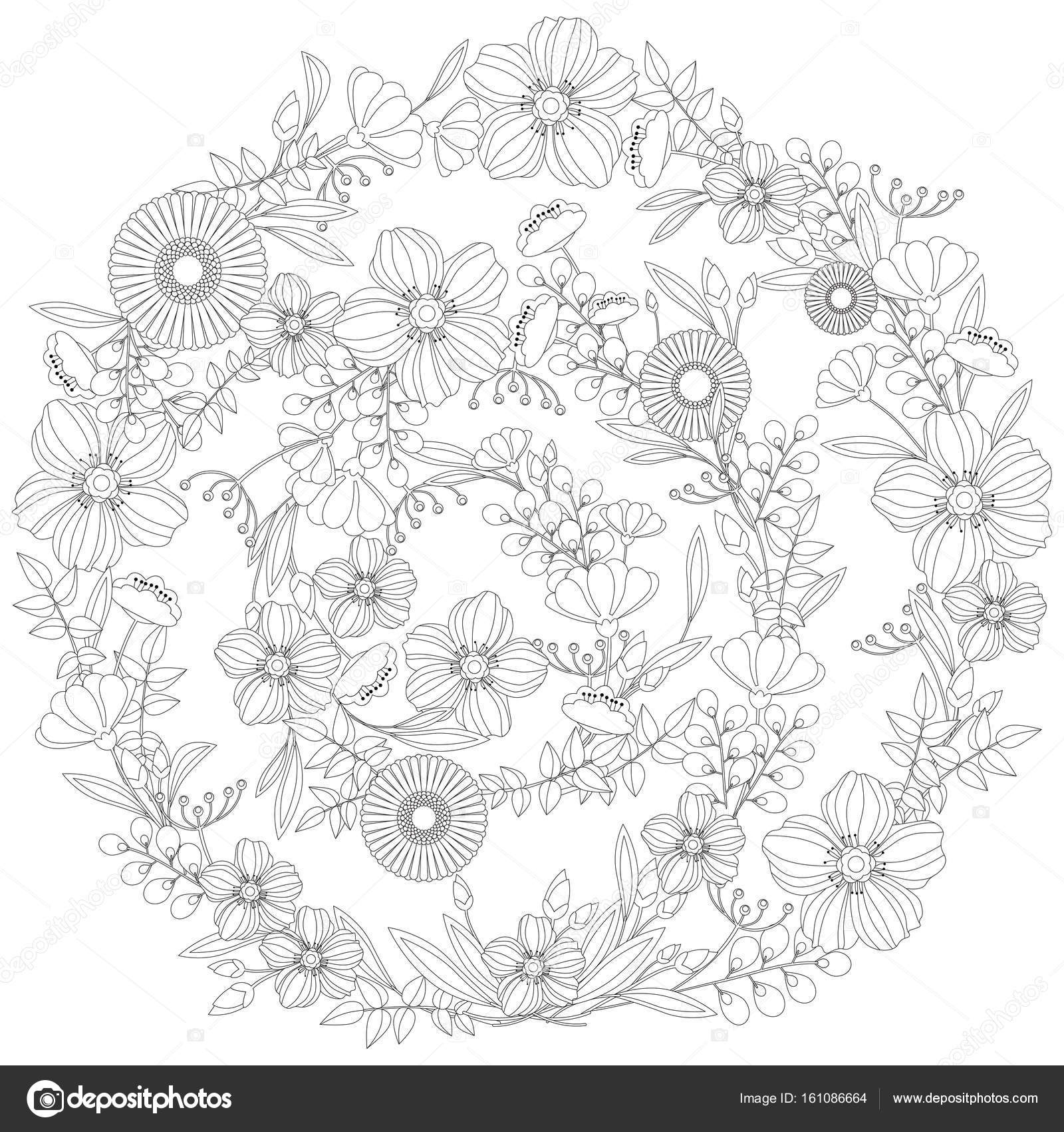大人のぬりえ本花柄 ベクター Eps 10 ストックベクター Snja123