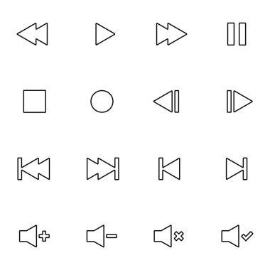 Set of Audio Video Control Line Icon
