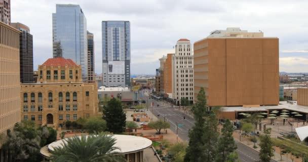 4k Ultrahd nézet lenézett a downtown Phoenix, Arizona