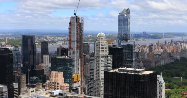 4 k Ultrahd letecký pohled na panorama Manhattanu