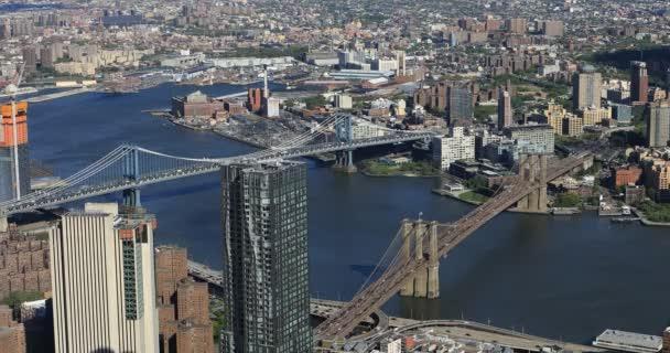 4 k Ultrahd légi felvétel híd Manhattan és Brooklyn