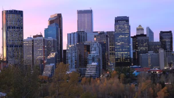 Timelapse day to night of the Calgary, Canada city center 4K