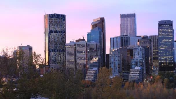 Timelapse day to night of the Calgary, Canada skyline 4K
