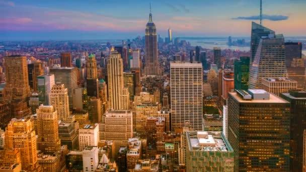 Timelapse letecké západ slunce v Midtownu na Manhattanu 4k